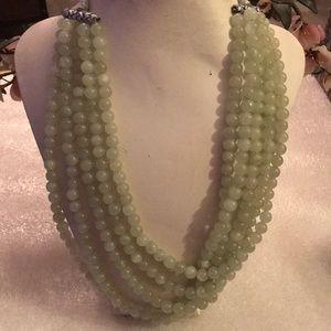 Vintage 5 strand green aquamarine necklace